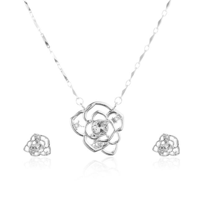 Crystal Rose Flower Necklace & Earrings Set - 2 Colors