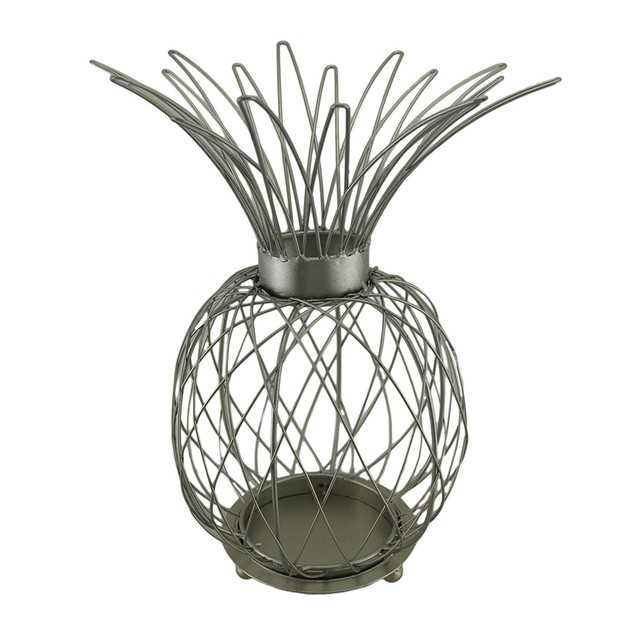 Satin Silver Finish Metal Wire Pineapple Shaped Candleholders