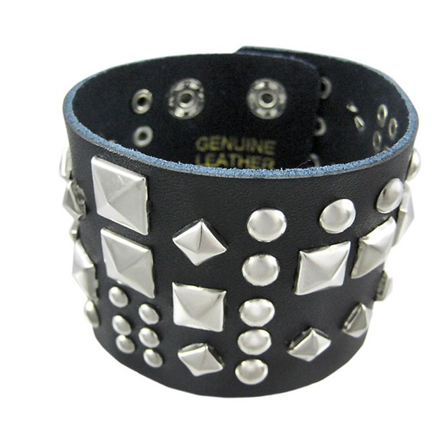 Black Leather Double Snap Clasp Wristband Chrome Mens Leather Bracelets