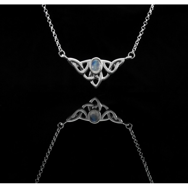 16 Inch Sterling Silver Claddagh Necklace W/ White Womens Pendant Necklaces