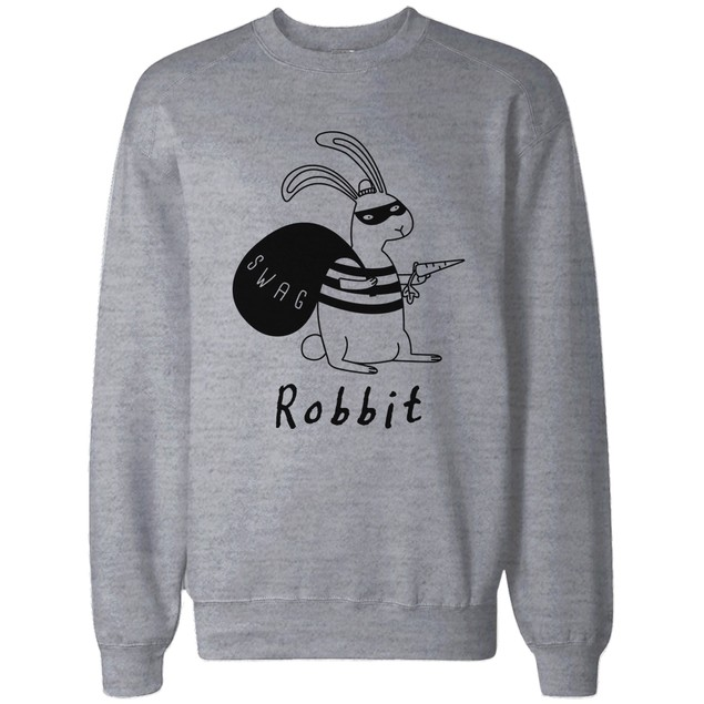 Funny Sweatshirt Unisex Grey Pullover Sweater - Robbit with Swag Bag