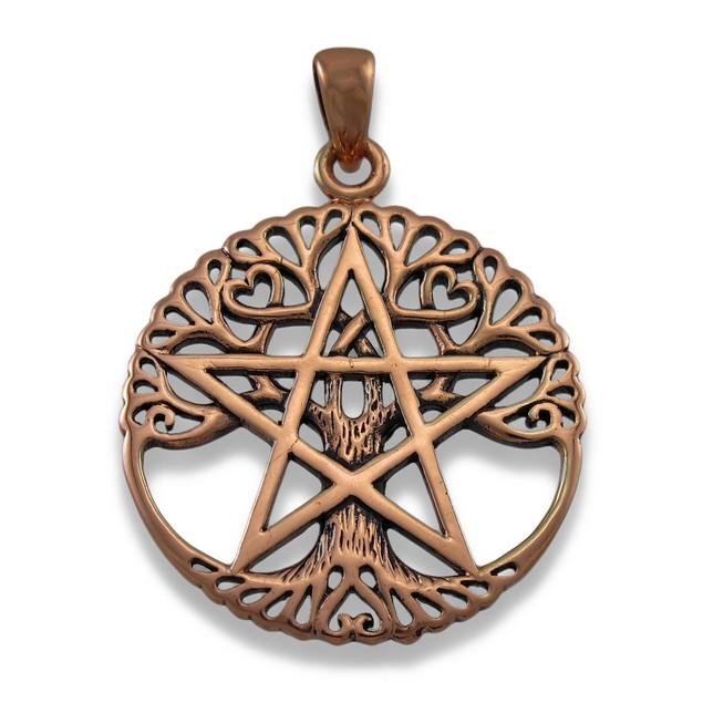 Large Copper Tree Of Life Pentacle Pendant Pagan Womens Pendants