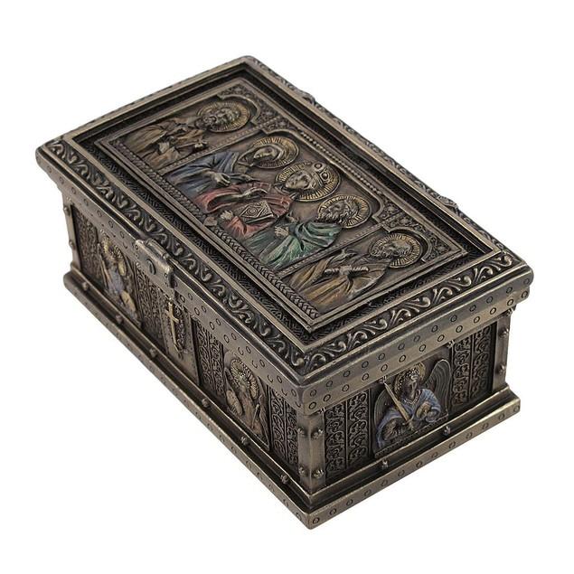 Bronzed Catholic Saints Altar Trinket Box Decorative Boxes
