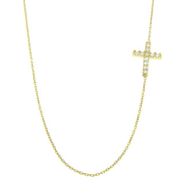 Gold Over Sterling Silver Pave Side Cross Necklace