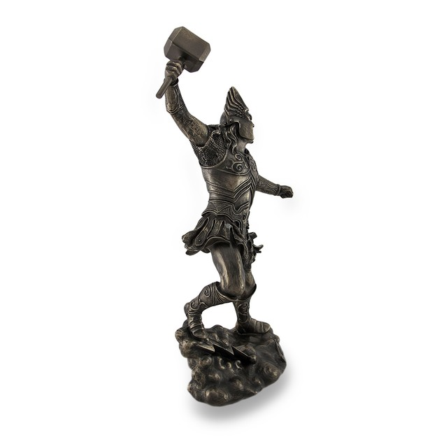 Thor, Norse God Of Thunder, Wielding Hammer Statues