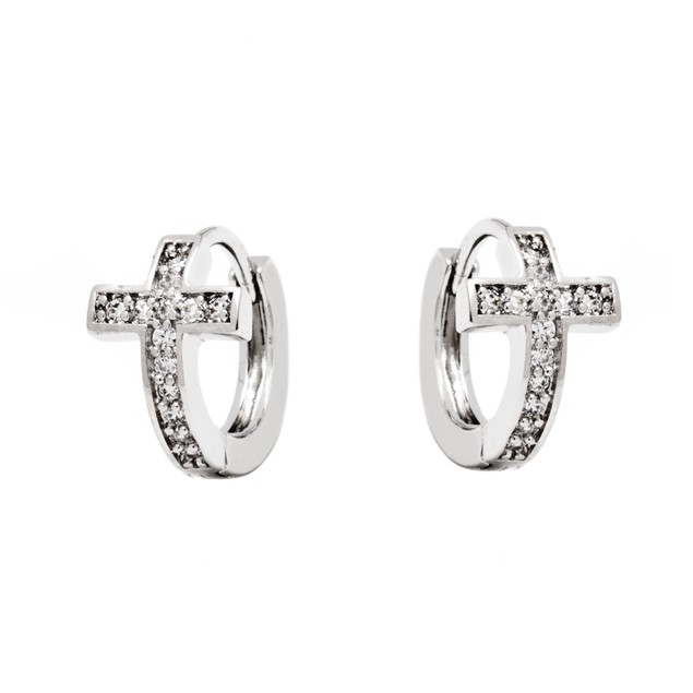 Silver & Crystal Cross Earrings