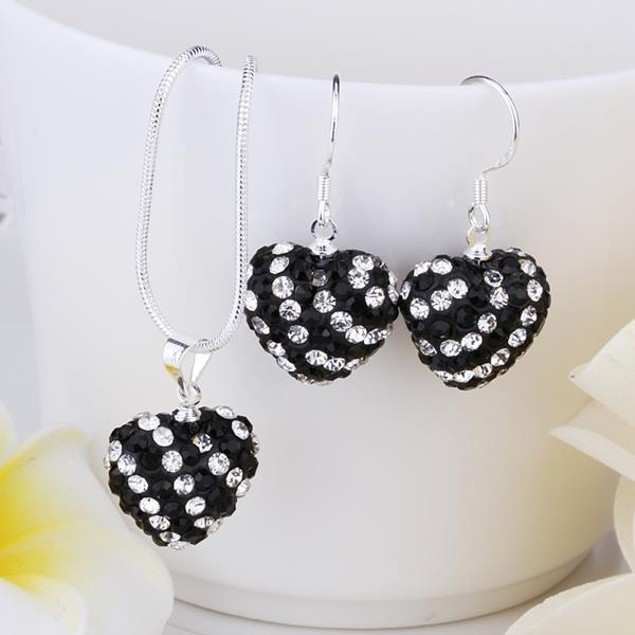 Multi-Pave Heart Drop Earring and Necklace Set - Black and White