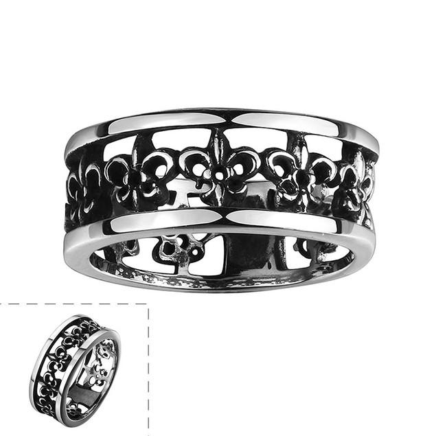 Greek Inspired Ingrained Stainless Steel Ring