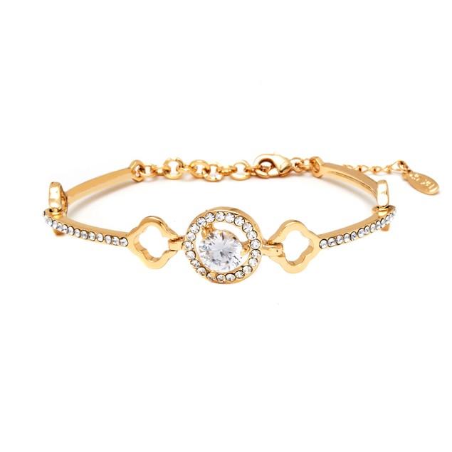 18K Gold & Swarovski Elements Round Bracelet
