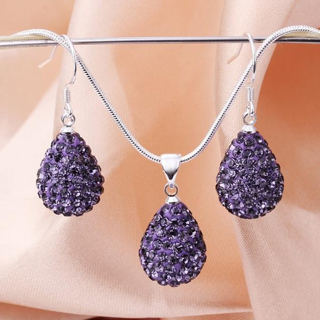 Austrian Stone Solid-Pave Pear Earring and Necklace Set - Amethyst Crystal