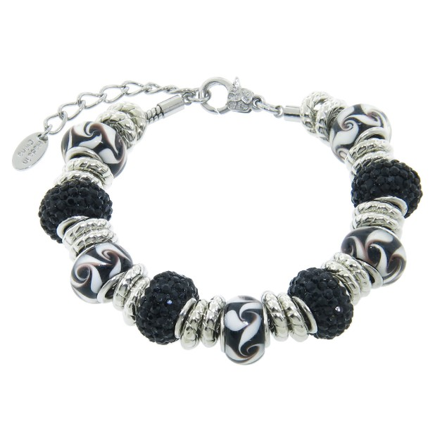 Charmed Feelings Black Murano Style Charms and Crystal Bracelet