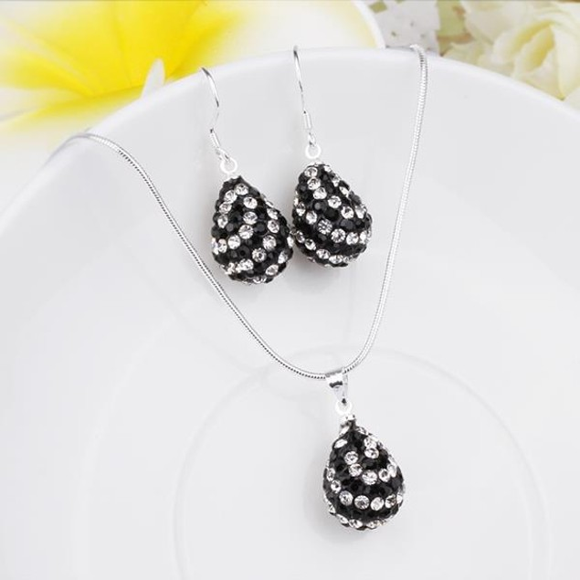 Austrian Stone Multi-Pave Pear Earring and Necklace Set - Black and White