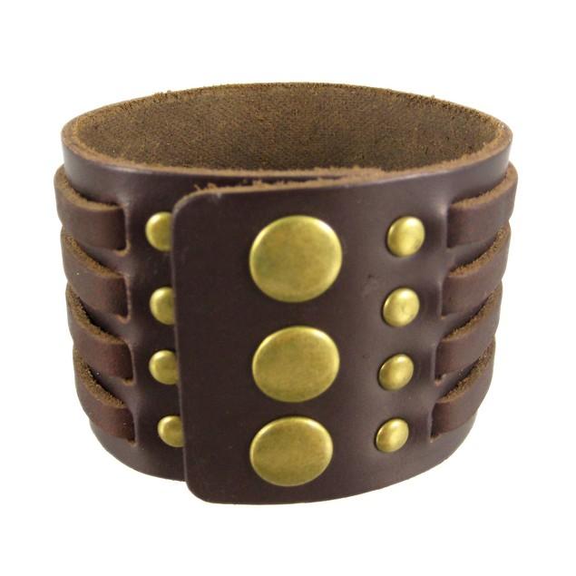 Brown Leather 4 Strip Chrome Studded Wristband Mens Leather Bracelets