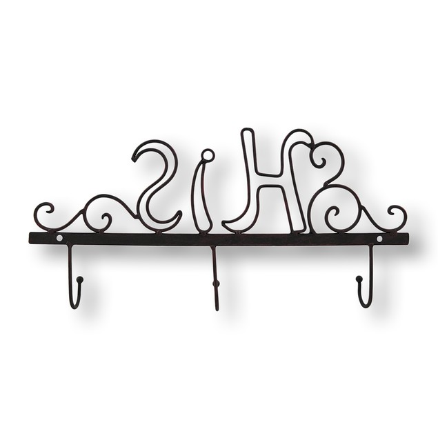 Metal `His` Wall Hook Hat Hooks