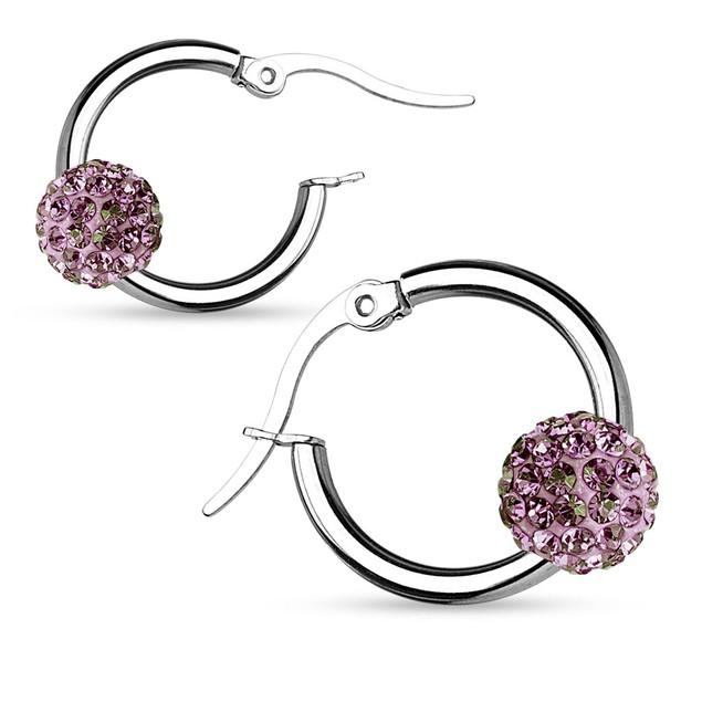 Stainless Steel Shamballa Crystal Ball Hoop Earrings - 6 Colors