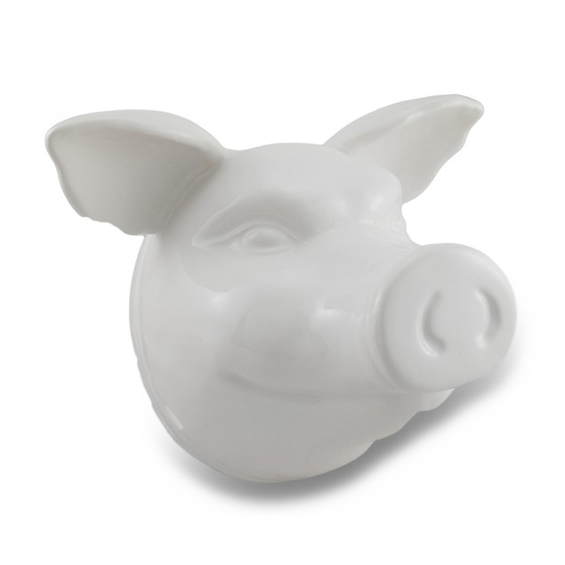 Glossy White Ceramic Pig Head Wall Hanging Wall Sculptures