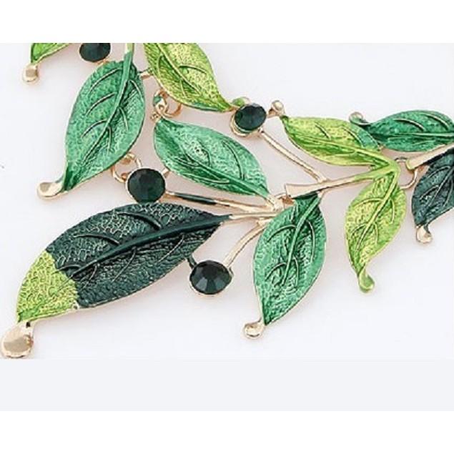 Vintage Leaf Collar Crystal Necklace Set