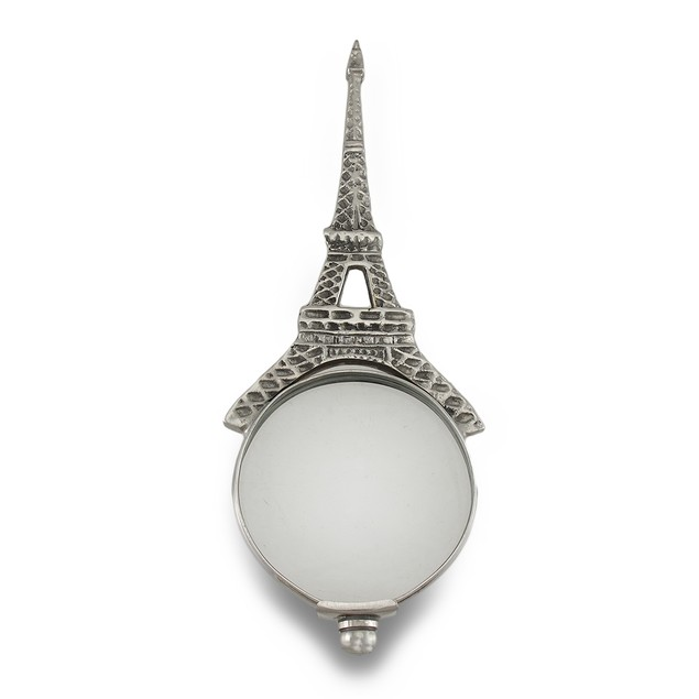 Silvertone Eiffel Tower Hand Held Magnifying Glass Decorative Magnifying