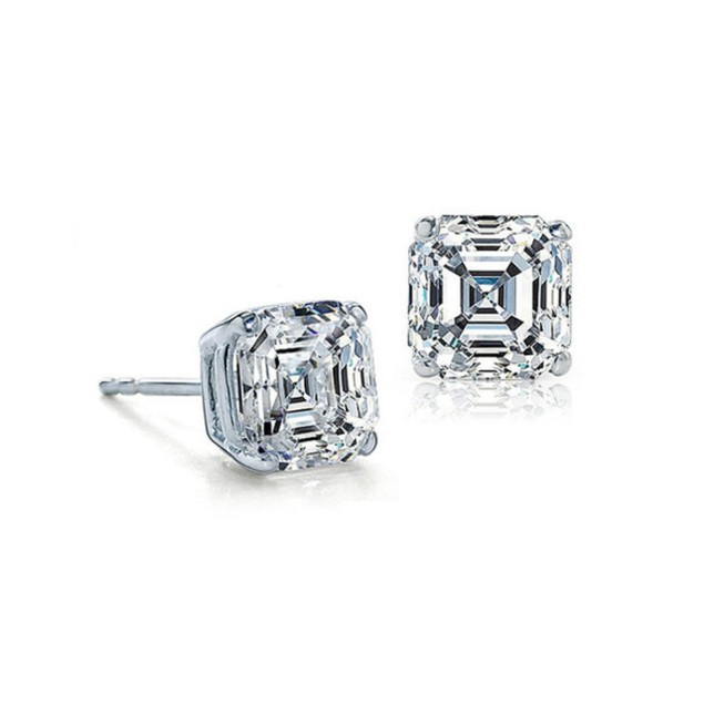 Sterling Silver 2ct Asscher Cut Cubic Zirconia Stud Earrings