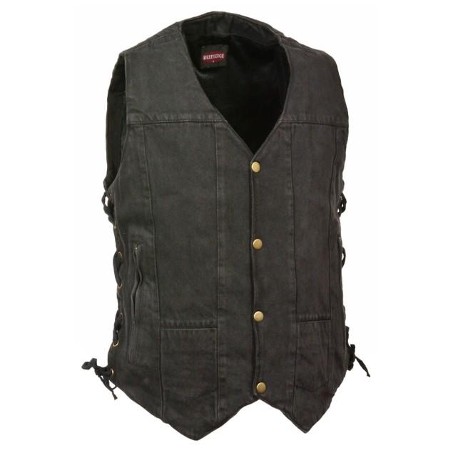 Mens Denim 10 Pocket Side Lace Vest Mens Denim Outerwear Vests