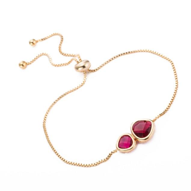 Gold Plated Duo Ruby Gem Bracelet