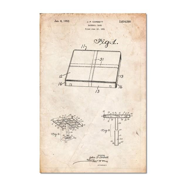 Vintage Baseball Base Patent Poster