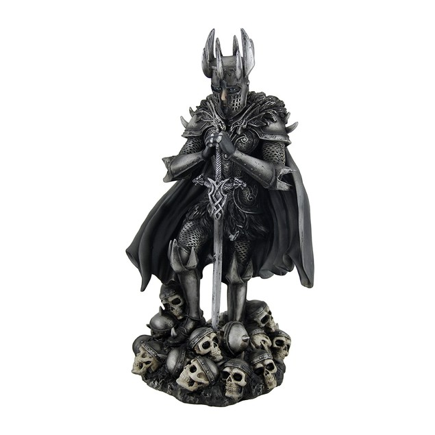 Dark Knight W/Sword Standing On Skulls Statue Statues