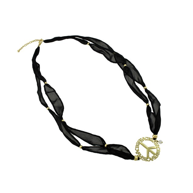 Black Beaded Ribbon Gold Tone Peace Sign Wrap Womens Wrap Bracelets