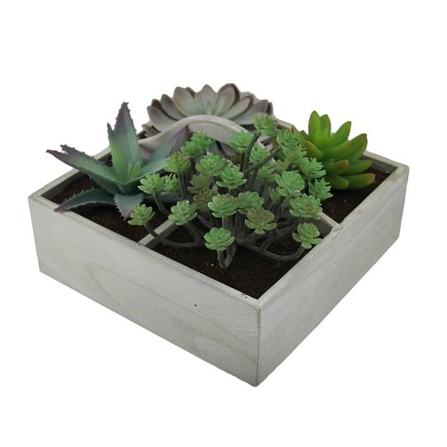Artificial Succulent Plant Garden In Wooden Box Planter Boxes