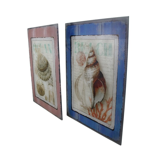 2 Pc. Sea Dreams Glass Seashell Wall Hanging Set Prints