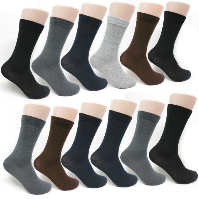 Men's 12-pack Cotton Classic Patterned and Solid Dress Socks