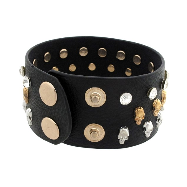 Black Leather Wristband W/ Tiny Skull Studs And Mens Leather Bracelets