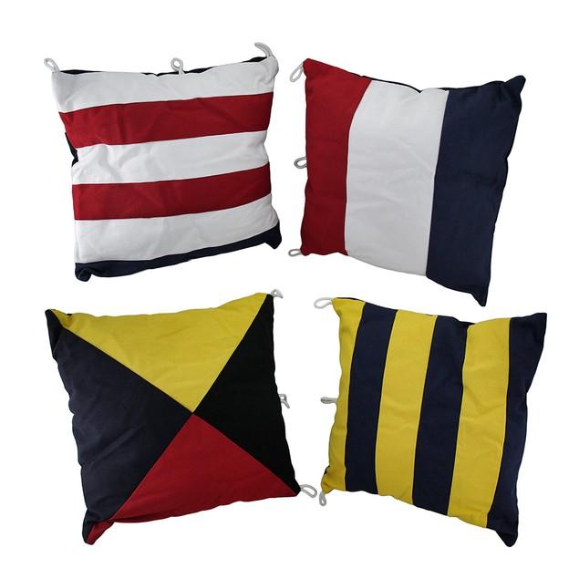 Set Of 4 Nautical Signal Flag Decorative Throw Throw Pillows
