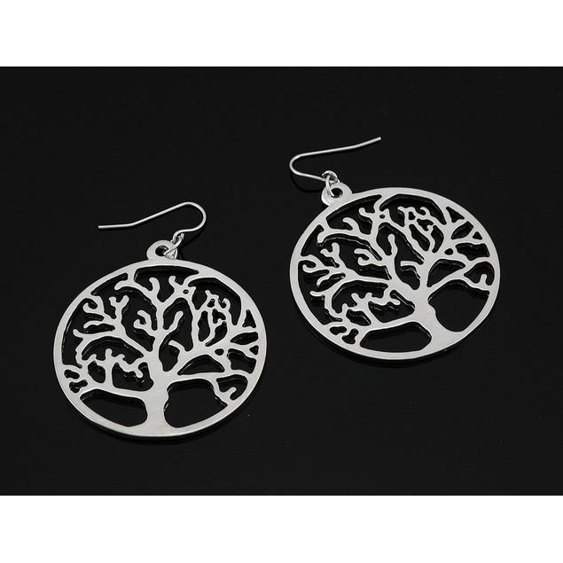 Silver Tone Tree Of Life Round Dangle Earrings Dangle Earrings