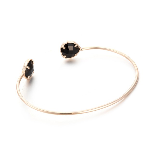 Gold Plated Dark Onyx Gem Open Ended Bangle
