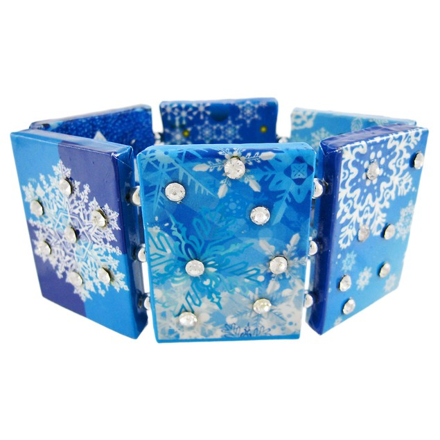 Paper Artwork Snowflake Rhinestone Stretch Womens Bangle Bracelets