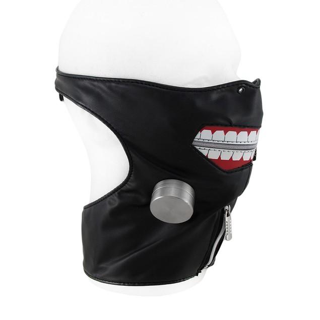 Zippered Big Smile Adjustable Half Face And Neck Mens Costume Masks