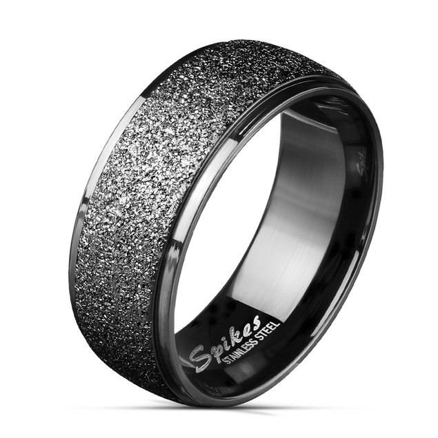 Sand Blast Center Stepped Edges Black IP Stainless Steel Ring