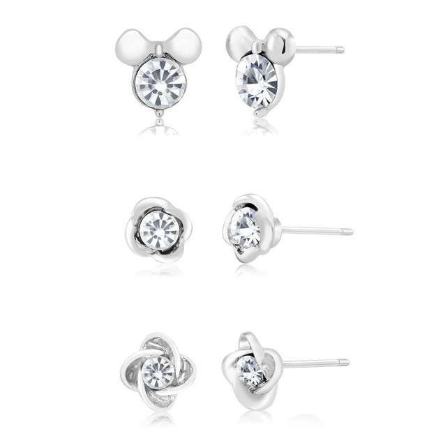3-Pack Assorted Cubic Zirconia Crystal Stud Earrings