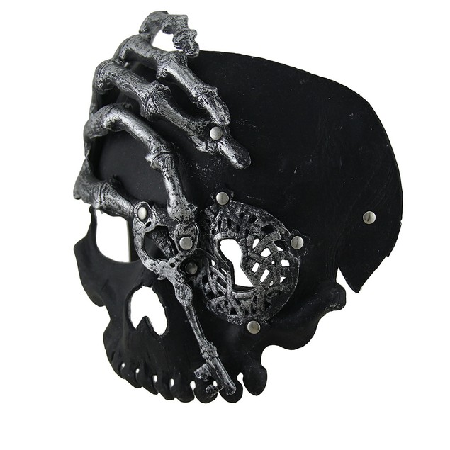 Black Steampunk Pirate Skull W/Skeleton Hand Adult Mens Costume Masks