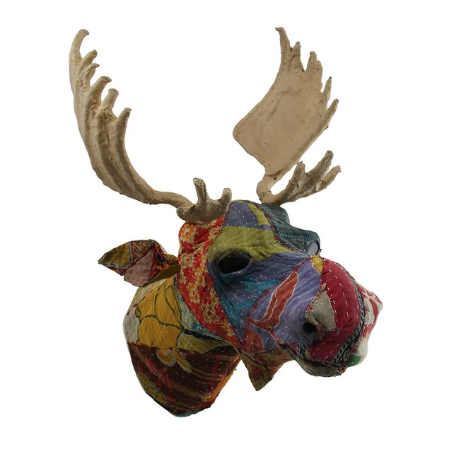 Recycled Indian Sari Fabric Covered Moose Head Wall Sculptures