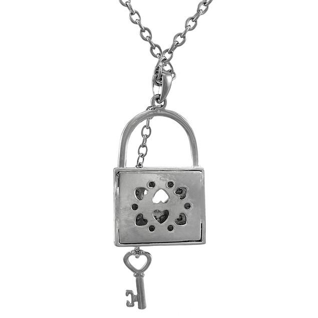 Silver Tone Rhinestone Lock Necklace With Key Pendant Necklaces
