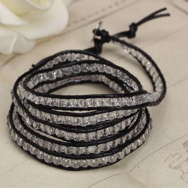 Black on Clear Crystal Wrap Bracelet