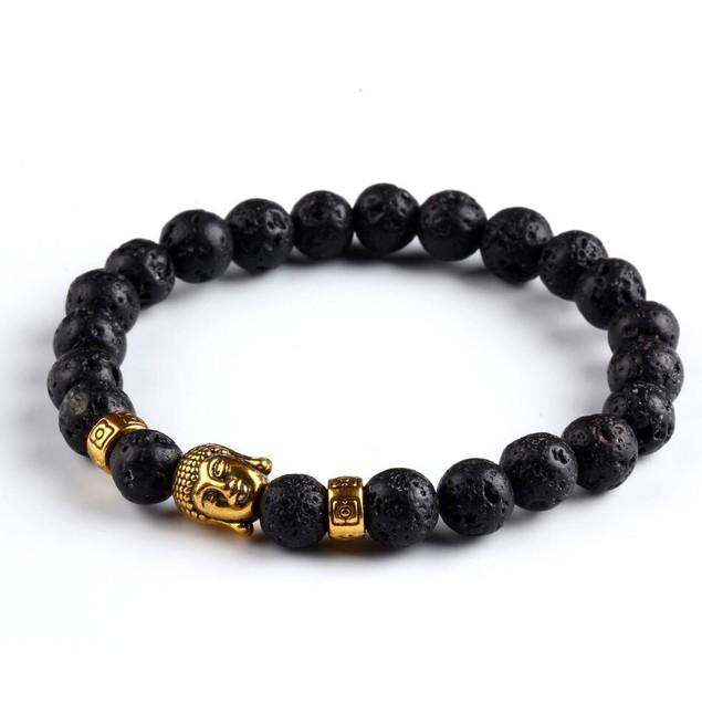 Black Lava Stone Buddha Beads Bracelet