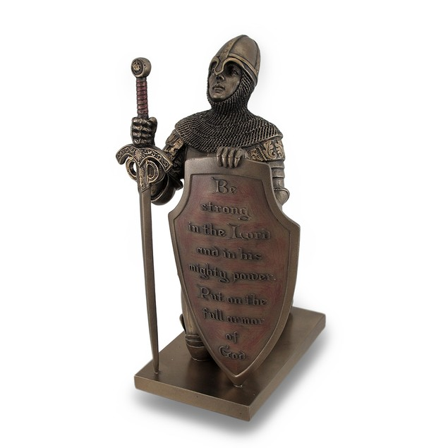 Templar Knight Be Strong In The Lord Bronze Finish Statues