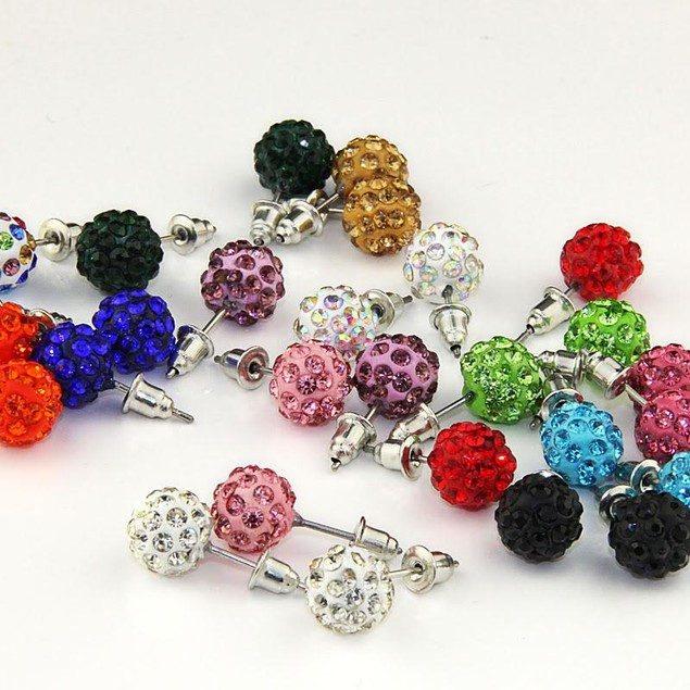 28-Pack Colorful Crystal Ball Stud Earrings