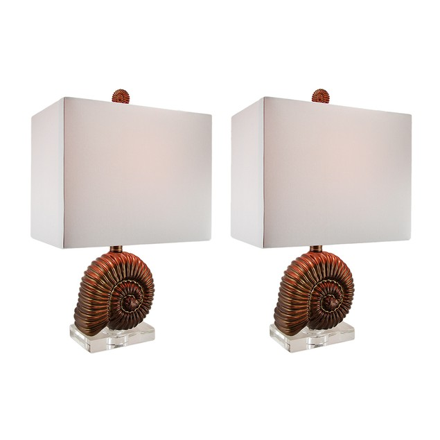 Antique Gold Finish Ammonite Shell Table Lamp Table Lamps