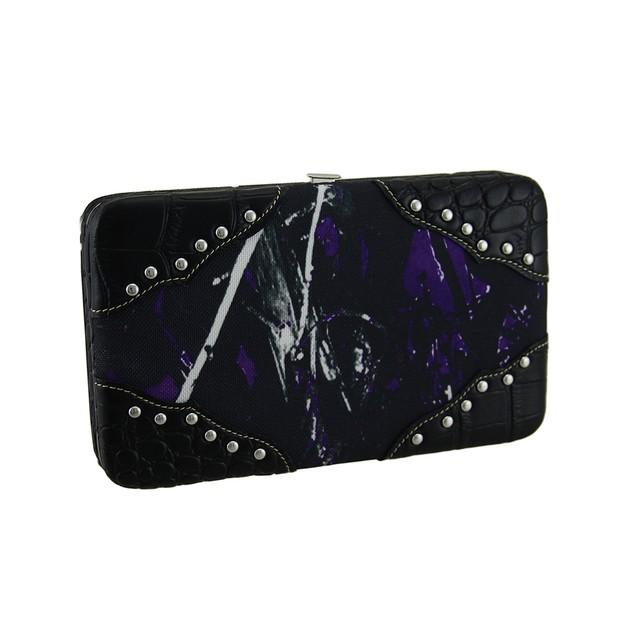 Moon Shine Camouflage Chrome Studded Ladies Wallet Womens Wallets