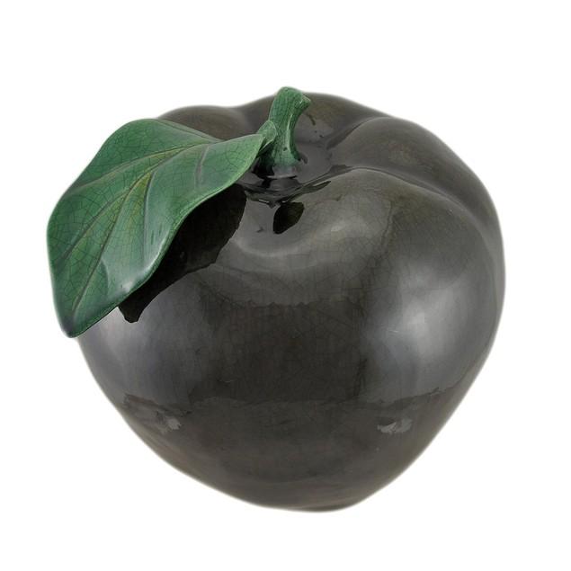 11 Inch Diameter Dark Green Ceramic Apple Statues