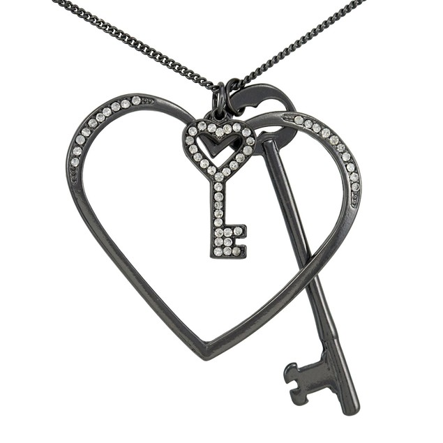 Gunmetal Heart And Keys Necklace With Rhinestone Chain Necklaces